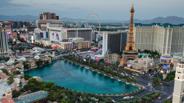 Time-lapse-of-the-Bellagio-Fountains-&-Las-Vegas-Boulevard-at-sunset