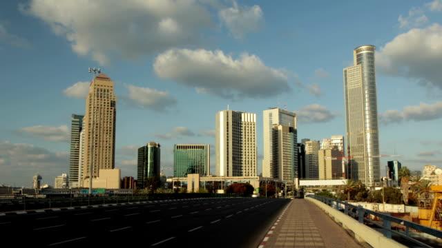 Israel-Ramat-Gan-edificio-de-oficinas-skyline-Time-lapse