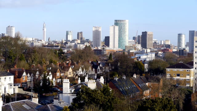 Inglaterra-del-horizonte-de-centro-de-la-ciudad-de-Birmingham