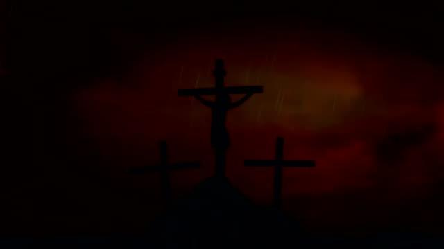 Jesús-en-la-Cruz-bajo-una-tormenta-de-relámpagos-y-lluvia