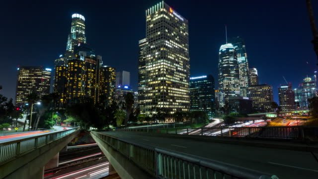 Downtown-Los-Angeles-at-Night-Motion-Controlled-Timelapse