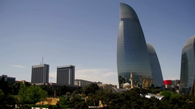 Baku-Embankment-view-of-the-Flame-Towers-Azerbaijan