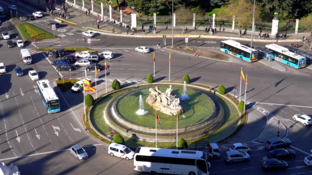 Aerial-view-of-Cibeles-fountain-at-Plaza-de-Cibeles-in-Madrid-in-a-sunny-day