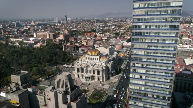Latin-American-Tower-and-Palace-of-Fine-arts-view-with-drone-Mexico-City-CDMX