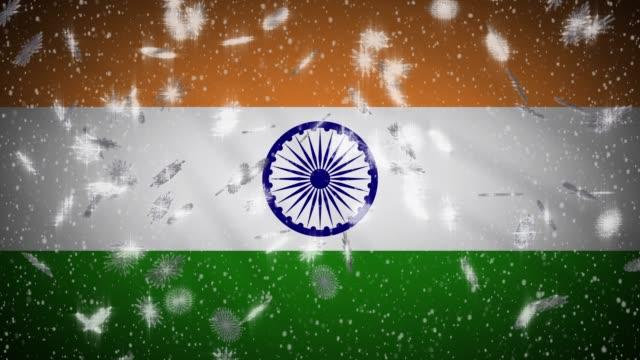 Bandera-de-la-India-cayendo-sin-nieve-loopable-Año-Nuevo-y-fondo-de-Navidad-bucle