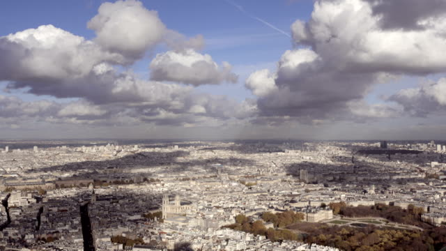 Paris-France---November-20-2014:-Wide-Angle-introduction-shot-of-Paris-city-with-Notre-Dame-and-several-monuments-Daytime