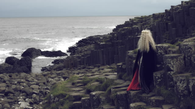 4k-Fantasy-Shot-on-Giant-s-Causeway-of-a-Queen-Showing-at-the-Ocean