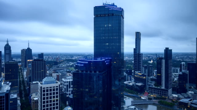 Melbourne-city-skyline-at-sunrise