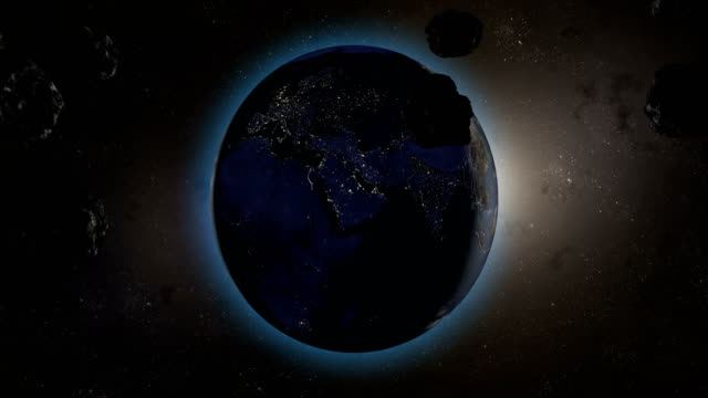 Asteroids-or-meteorites-heading-to-orient-in-planet-earth