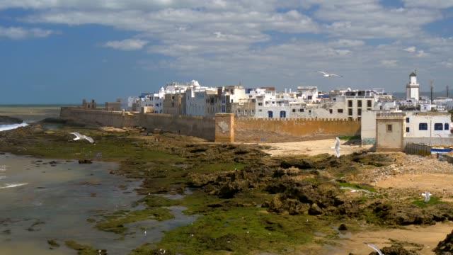 Ciudad-de-Essaouira-en-la-costa-atlántica-de-Marruecos-Gaviotas-volando