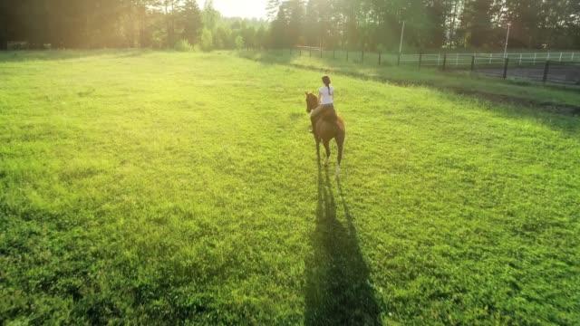 Una-mujer-monta-trotted-en-un-caballo-marrón-con-su-espalda-a-la-cámara-cámara-lenta