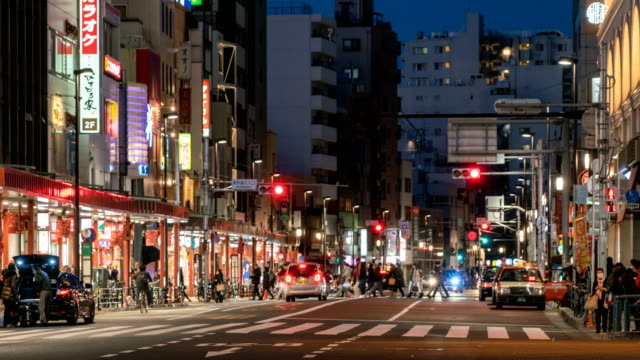 4K-time-lapse-:-Pedestrians-crowded-and-traffic-near-asakusa-station-Tokyo