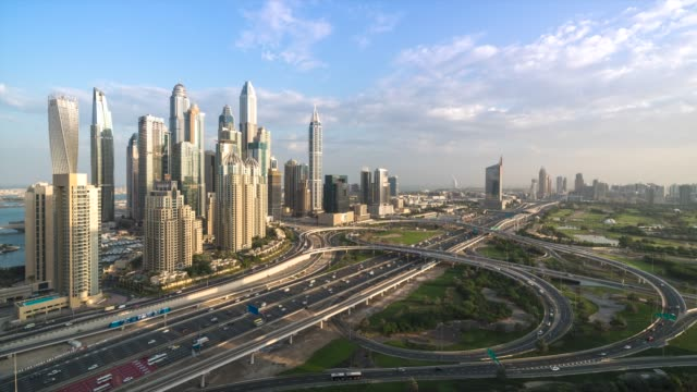 4K-Timelapse---Aerial-view-of-cityscape-and-skyline-in-Marina-Dubai-UAE-at-sunrise