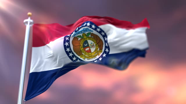 Flag-of-Missouri-state-at-sunset-region-of-the-United-States---loop