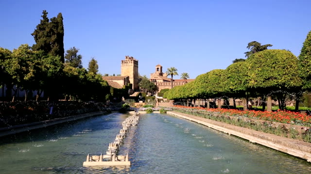 Alcazar-palace-gardens-and-fountains-in-Cordoba-Andalusia-Spain