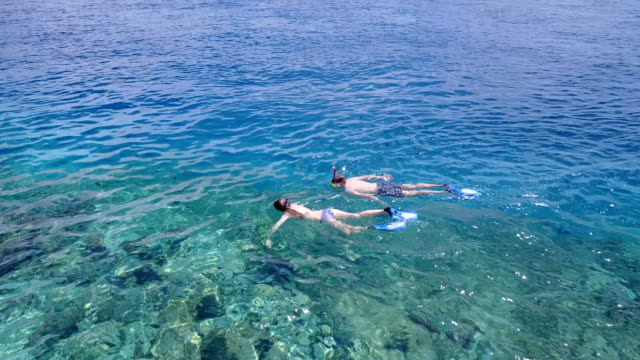 v04058-Aerial-flying-drone-view-of-Maldives-white-sandy-beach-2-people-young-couple-man-woman-snorkeling-swimming-diving-on-sunny-tropical-paradise-island-with-aqua-blue-sky-sea-water-ocean-4k