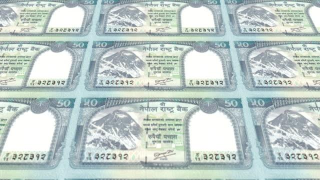 Banknoten-der-fünfzig-nepalesische-Rupie-von-Nepal-Bargeld-Schleife