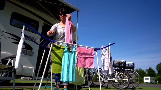 Washing-on-a-dryer-at-a-campsite-