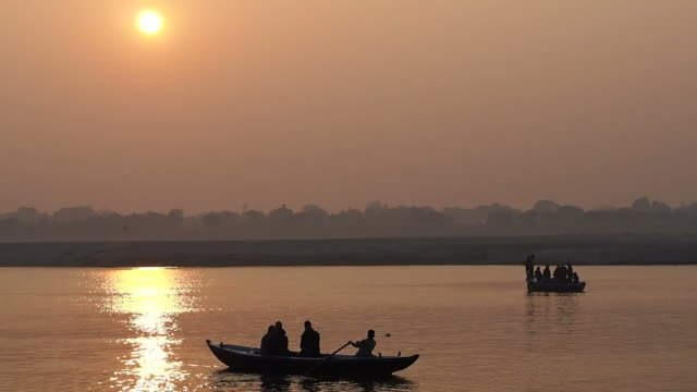 Boats-on-the-Ganges-River-at-Sunrise-Varanasi-Uttar-Pradesh-India