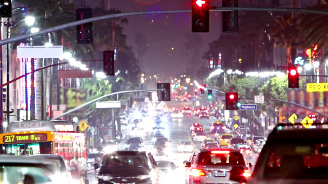 Timelapse-of-Hollywood-boulevard-traffic-at-night