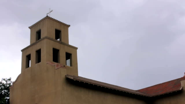 Camera-Tilt-to-Reveal-a-Historic-Adobe-Catholic-Church