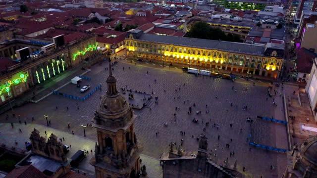 Aerial/Drone-View-of-the-Plaza-de-Bolivar-La-Candelaria-Bogotá-Colombia-5