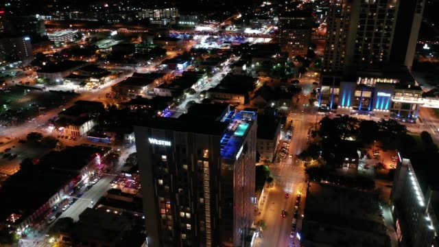 Aerial-of-Downtown-Austin-Texas-at-Night
