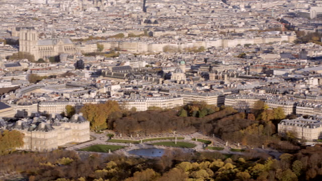 Paris-France---November-20-2014:-Aerial-establishing-shot-of-the-luxembourg-garden-Notre-Dame-is-in-the-background-