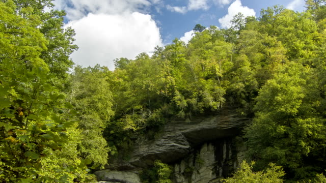 Inclinación-de-cielo-azul-a-Cataratas-Looking-Glass-Carolina-del-Norte