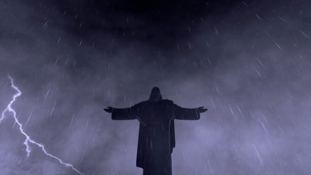 Christ-the-Redeemer-mountain-peaks-stormy-weather-with-lightnings