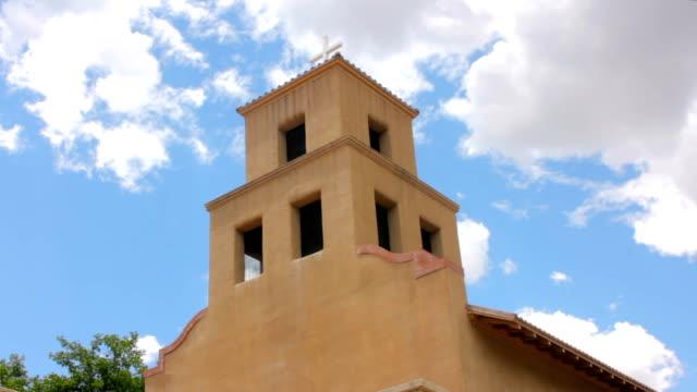 Low-angle-of-a-Historic-Adobe-Catholic-Church