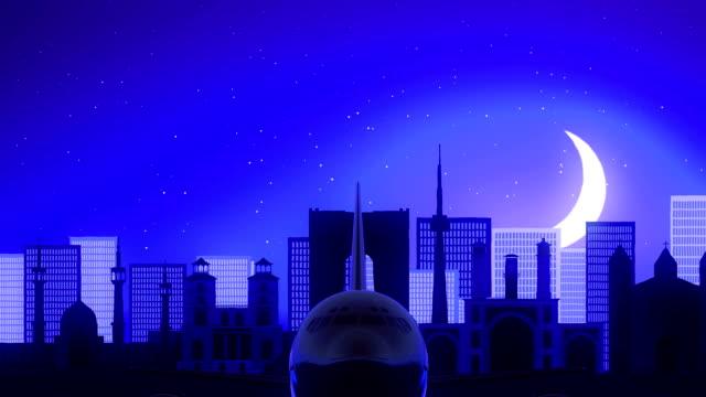 Tehran-Iran-Airplane-Take-Off-Moon-Night-Blue-Skyline-Travel