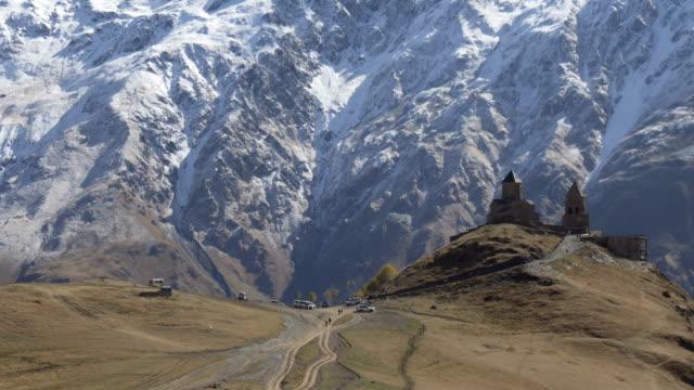 Ancient-Gergeti-Trinity-church-near-mount-Kazbek-Caucasus-mountains-