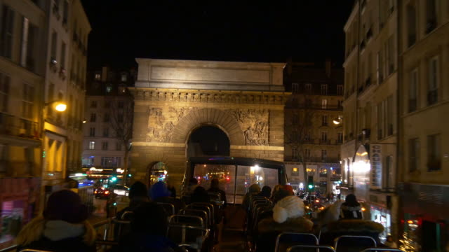 france-night-time-illumination-paris-double-decker-bus-ride-traffic-street-panorama-4k