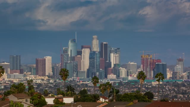 Downtown-Los-Angeles-Skyline-with-Clouds-Day-Timelapse