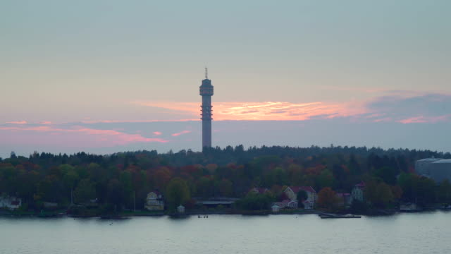A-tall-tower-on-the-island-city-in-Stockholm-Sweden
