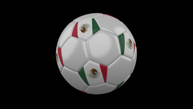 Soccer-ball-with-flag-Mexico-4k-with-alpha-loop