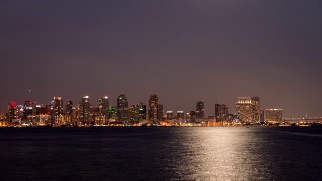 Horizonte-de-la-ciudad-de-San-Diego-lapso-de-tiempo-del-atardecer