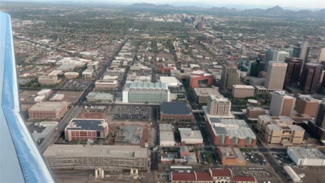 Aerial-airline-approach-Phoenix-Arizona-down-town-urban-area-HD