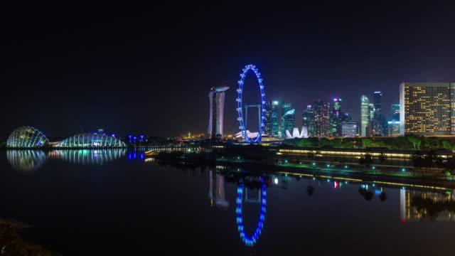 noche-ligera-Singapur-centro-panorama-4k-lapso-de-tiempo