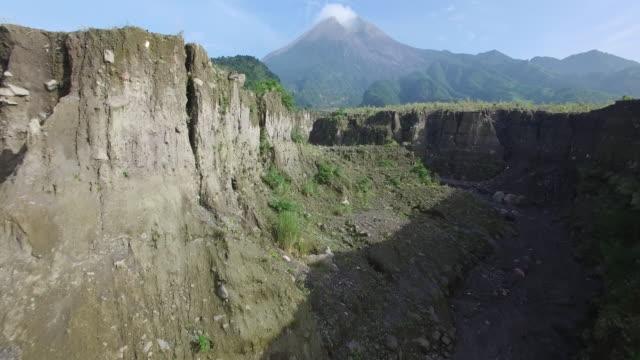 Aerial-volcano-chasm-fly-through-Mount-Merapi-(Gunung-Merapi)