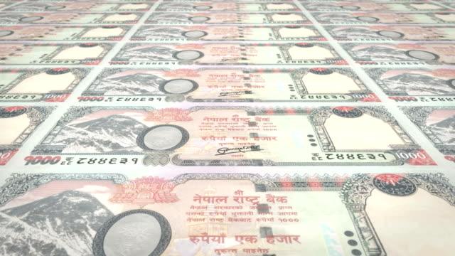 Banknoten-der-tausend-nepalesische-Rupie-von-Nepal-Bargeld-Schleife