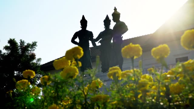 Three-Kings-Monument-with-art-and-culture-building-landmark-in-chiangmai-Thailand-