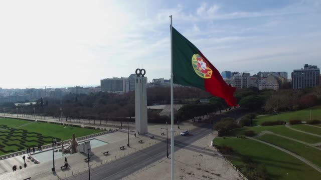 Portugal-Flag-on-Park-Eduardo-VII-Lisbon-Portugal