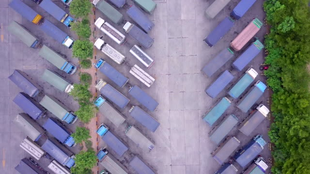 Top-view-and-Aerial-view-of-trucks-and-trailers-In-the-parking-lot