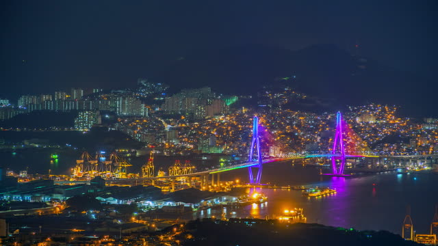 4K-Time-lapse-View-of-Busan-at-night-with-a-bridge-of-South-Korea