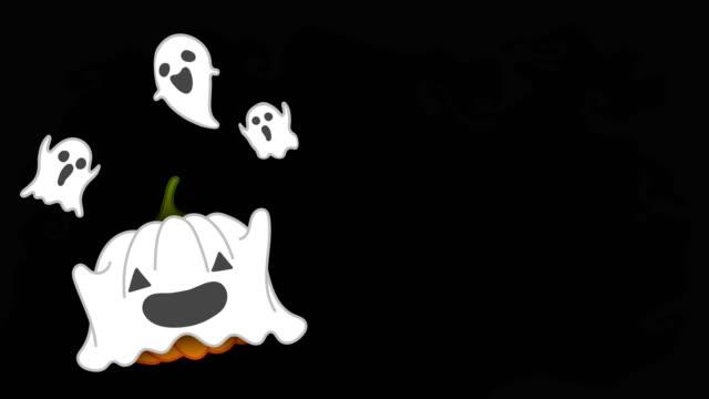 Conjunto-de-traje-de-calabaza-de-Halloween-jack-o-lantern-ghost-ilustración-de-la-idea-de-concepto-spooky-aislado-en-fondo-oscuro-del-miedo-sin-fisuras-bucle-de-animación-4K-con-espacio-de-copia