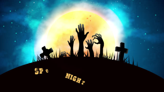 Spooky-Halloween-night-party-landscape-animation-background