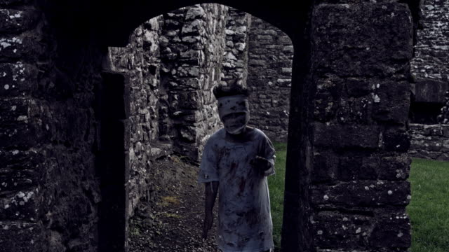 4k-Horror-Shot-of-an-Abandoned-Child-acting-like-a-Crazy-Zombie