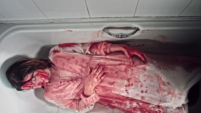 4K-Horror-Bloody-Woman-Laying-in-Bathtub
